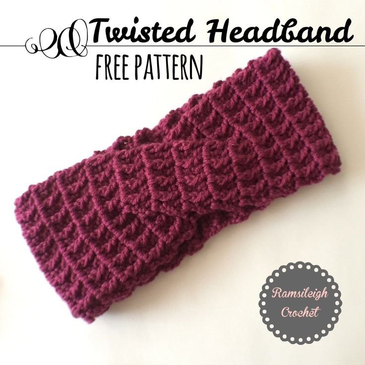 """Twisted Headband {14 double rows; 7 dc & 7 fpdc on each side of twist. Twist stays the same # of rows. Finishes at 4 3/4""""."""