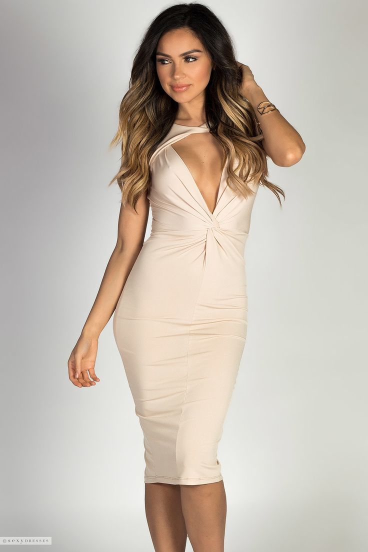Glam Deep V Cut Out Twist Front Sleeveless Y Midi Tail Dress