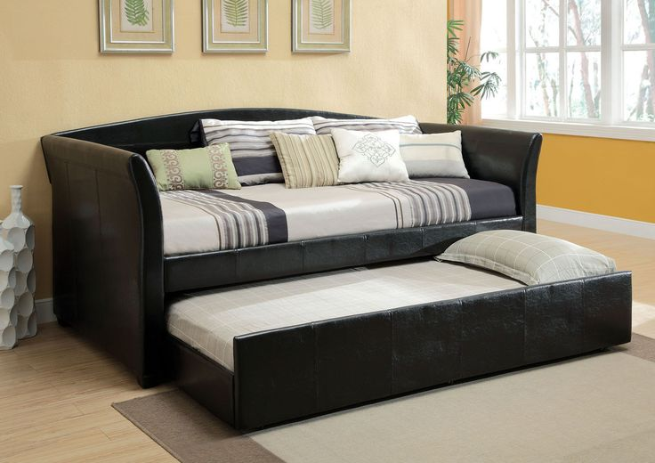 "Delmar Black Day Bed With Trundle CM1956BK $402  This contemporary day bed with hidden trundle is great for an offi ce or guest room. Upholstered in durable leatherette in gray, black, and red.  BLACK DAYBED W/ TWIN TRUNDLE [CM1956BK] 89 1/2""L X 43""W X 37 1/2""H  Contemporary Style Leatherette Platform Daybed Twin Trundle w/ Casters   Slat Kit Included  Solid Wood & Others*  Available in 3 Colors"
