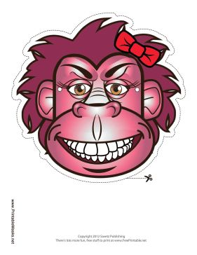 A pink lady gorilla mask like this one wouldn't be complete without a red hair bow! Wear this gorilla mask for a quick but feminine gorilla costume. Free to download and print