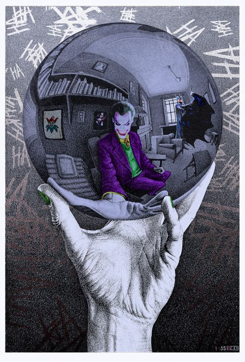 The Joker in Escher's Mirror Ball - Marco Champier. Psychotic and creepy Joker. My cup of tea! - Ander