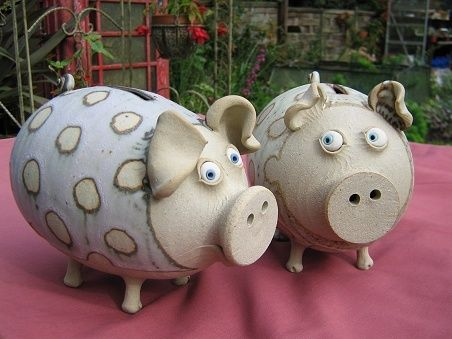 coin banks  Muggins Pottery Leicestershire in England