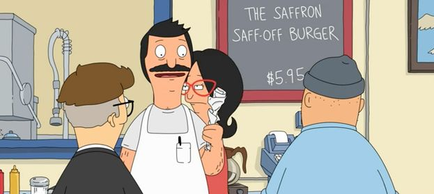 "The Saffron Saff-Off Burger - $5.95 from Bob's Burgers - Season 4 Episode 21 ""Wharf Horse"" and Episode 22 ""World Wharf II"""