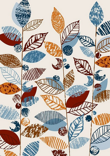 leaves, print, texture, design, printmaking, stamp, lino, colour, nature, repeat print