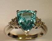 Vintage Wedding Ring Aquamarine with 6  Diamonds Ring- Estate White Gold Vintage Jewelry