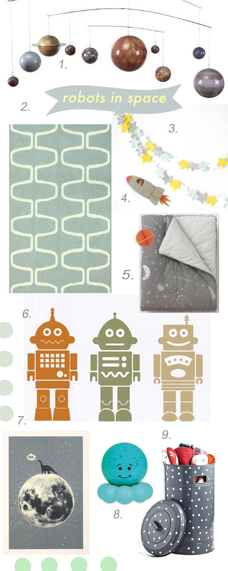 Robots in Space Themed Nursery // by Chachi Loves Design, Los Angeles // for sources visit: http://chachilovesdesign.tumblr.com/