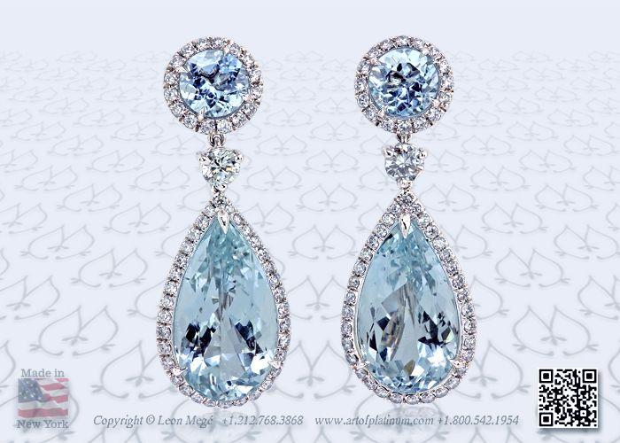 Pear Shaped Blue Aquamarine Halo Earrings By Leon Megé 13 Carats