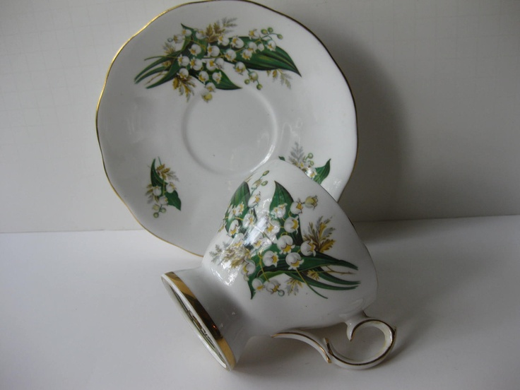 Vintage Queen Anne Musical Lily of the Valley Teacup & Saucer. $26.50, via Etsy.