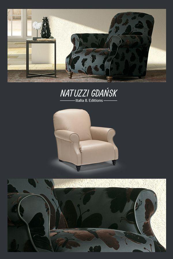 Fotel Butterfly ma unikatowe detale rzemieślnicze, ze wzorem