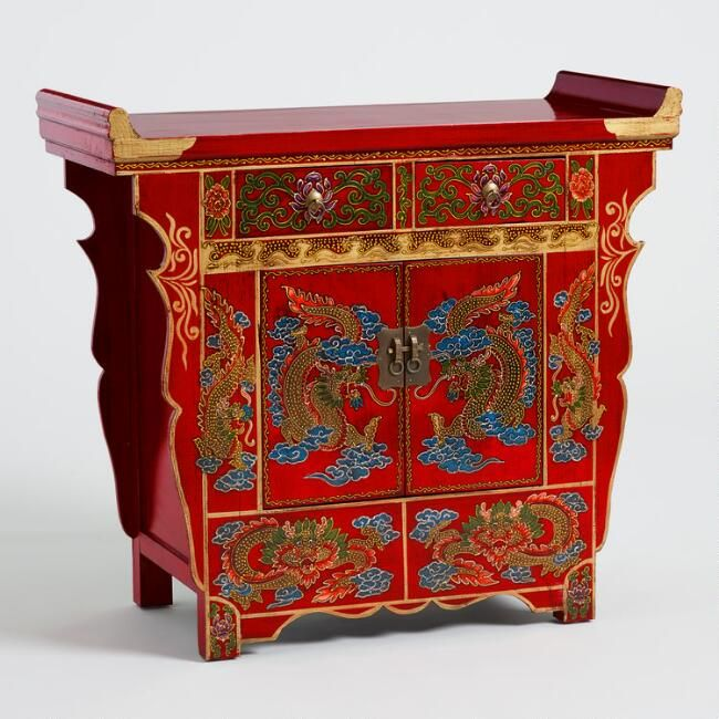 Red Wood Dragon Cabinet V1 Artisan Furniture Furniture Wood