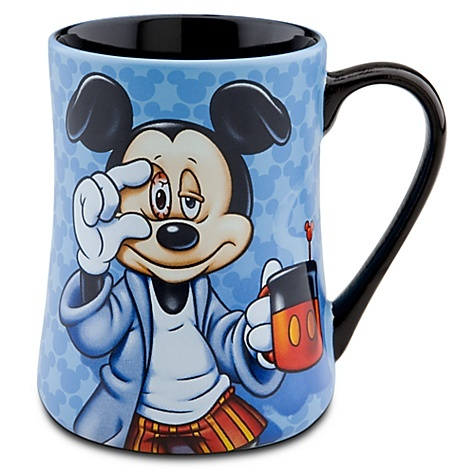 """""""Mornings"""" Mickey mug, $12.95. Perfect gift for my hubby...he looks just like this!"""