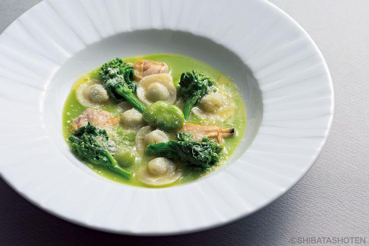 ジャガ芋生地の菜の花詰めカッペレッティえんどう豆のスープ アサリと緑野菜   ページ 2   日めくりパスタ