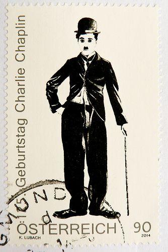 Austria 90c (portrait Charlie Chaplin, 125th anniversary of birthday) postage timbre