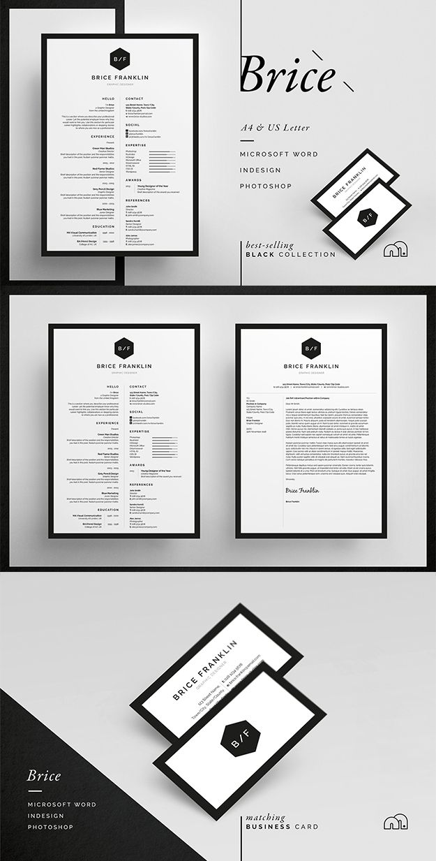 Professional Resume/CV / Cover letter template / Word / Photoshop / inDesign #resume #cv #template