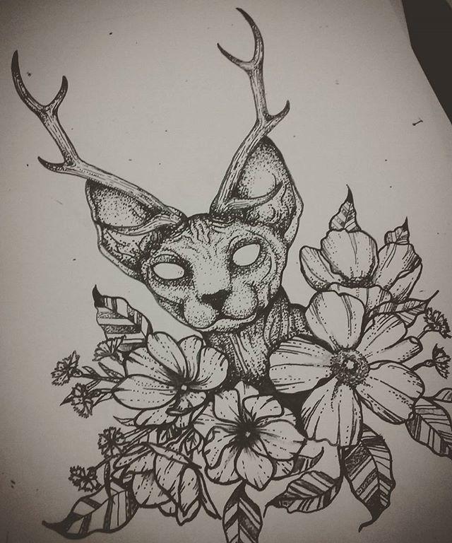 2017 Trend Geometric Tattoo The Finished Drawing Sphynxtattoo Sphynx Sphynxcat Dotworktattoo Dotwork Cat Tattoo Spooky Tattoos Creepy Tattoos