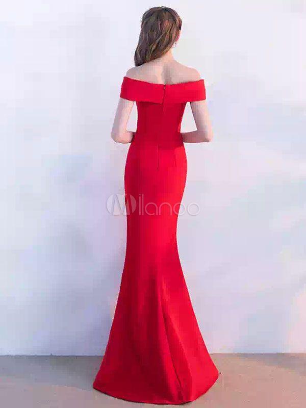 b19d2cb8e5e Vestido de noche rojo fuera del hombro sirena vestidos de baile largos 2018 Vestido  de noche alto sexy piso dividido - Milanoo.com