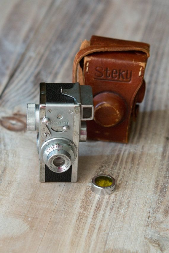 Steky II subminiature camera. It comes with the original leather case and a yellow lens filter.