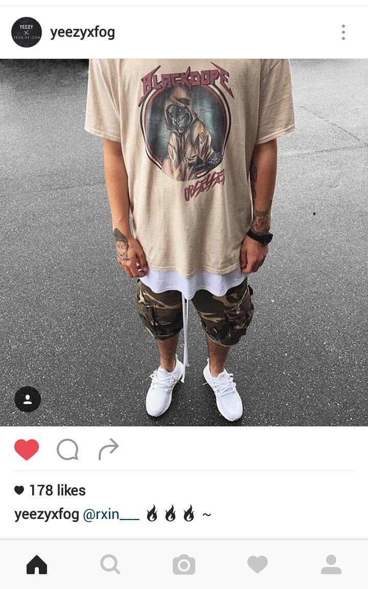 Vintage rock tee layered with basic white tee/tank, camo shorts and triple white ultra boost Clean summer look