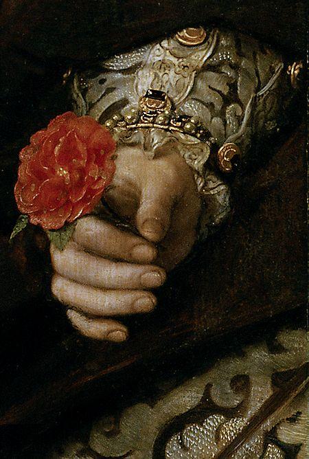 María Tudor. Antonio Moro, 1554, detail hand