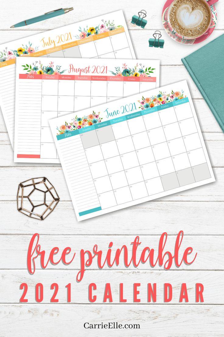 Free Printable 2021 Floral Calendar via @carrieelleblog in ...