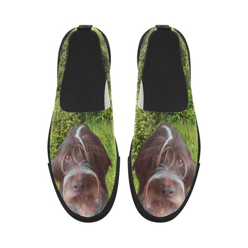 Dog and Flowers Apus Slip-on Microfiber Women's Shoes(Model 021)