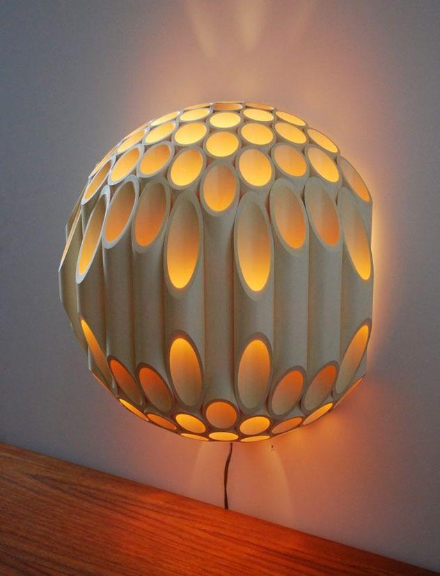 luminaria artesanal de pvc 2
