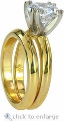 Ziamond Cubic Zirconia 2.5 Carat Round Double Prong Wedding Bridal Set In 14K Yellow Gold.  The Rosewood Wedding Set by Ziamond. $1295 #ziamond #cubiczirconia #cz #wedding #bridal #ring