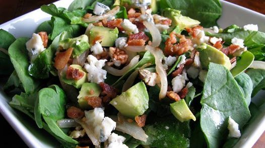 Photo: Loaded Spinach Salad   Recipe by How Sweet It Is   Ingredients 3 cups  spinach  1 oz  gorgonzola (crumbled)  2 slices  bacon (fried and crumbled)  1/4  sweet onion (cut into slices and caramelized)  2 tbsps  toasted pecans (chopped)  1/4  avocado (chopped)  Add spinach to a large bowl and top with ingredients. Toss with favorite dressing  ✿´¯`* *¸¸✿Be sure to SHARE to SAVE on your timeline ✿´¯`* *¸¸✿  ★★★★★★★★★★★★★★   FRIEND REQUEST ME https://www.facebook.com/joy.draginsmith  WEBSITE…