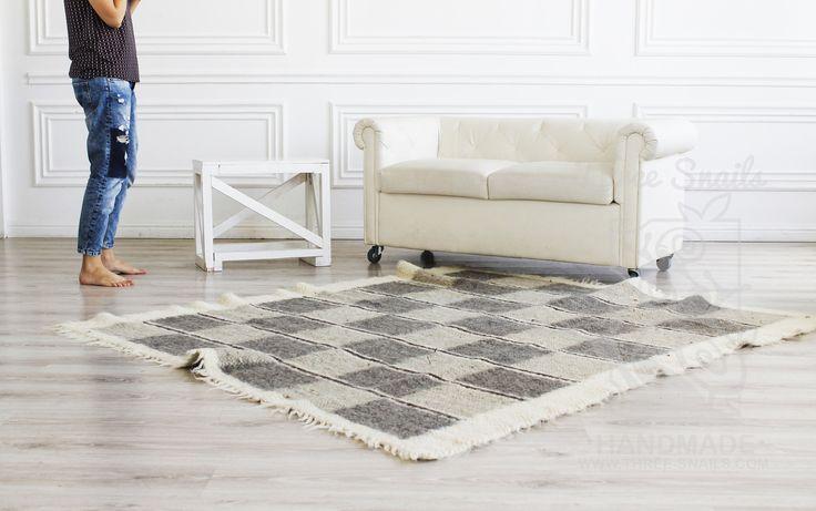 "Handmade designer wool rugs help you create a cozy atmosphere at your home! wool rug, scandinavian area rug living room rug  handwoven rug modern rug geometric  Natural rugs""Chess"" – Three Snails"