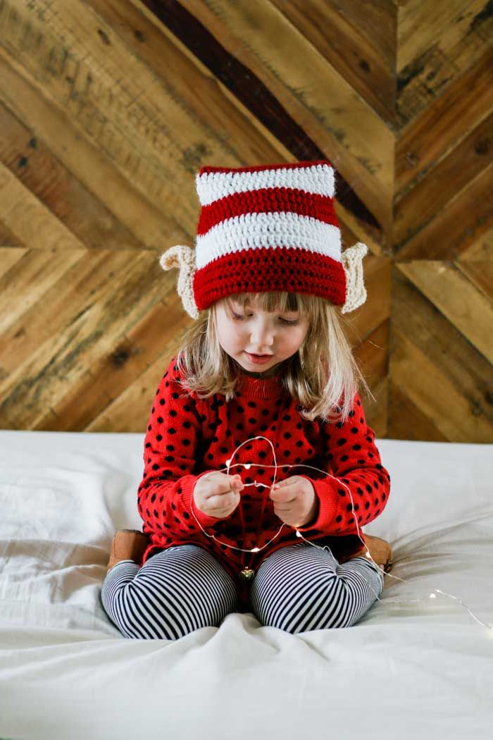 2aca2d219ec2e This free crochet elf hat pattern with ears is worked in the round and makes  a fast crochet Christmas gift idea for babies