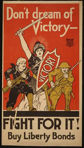 classic posters, free download, graphic design, military, propaganda, retro prints, united states, vintage, vintage posters, war, Don't Dream of Victory, Fight For It! Buy Liberty Bonds - Vintage War Military Poster