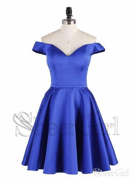 5eaacea78c9 Off the Shoulder Royal Blue Homecoming Dresses Graduation Dress ARD1460- SheerGirl