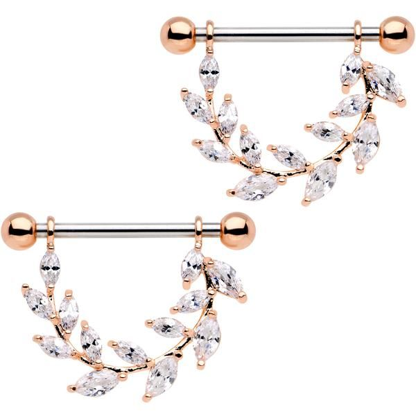 "9/16"" Clear CZ Gem Rose Gold Tone Ivy Leaf Dangle Nipple Ring Set"