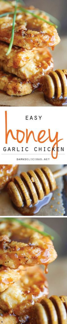 Honey Garlic Chicken - The most amazing crisp-tender chicken with a honey…