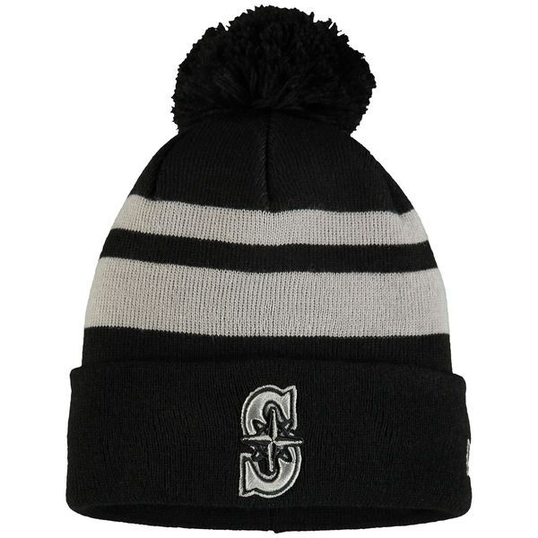 sale retailer 4ef7a a4a05 ... norway mens seattle mariners new era black double stripe cuffed knit  hat with pom tip of