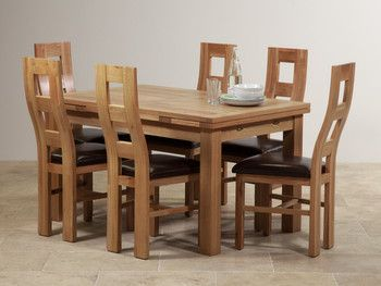 Dorset Natural Solid Oak Dining Set 4ft 7 Extending Table And 6 Wave Back Brown Leather Chairs Furniture LandBedroom