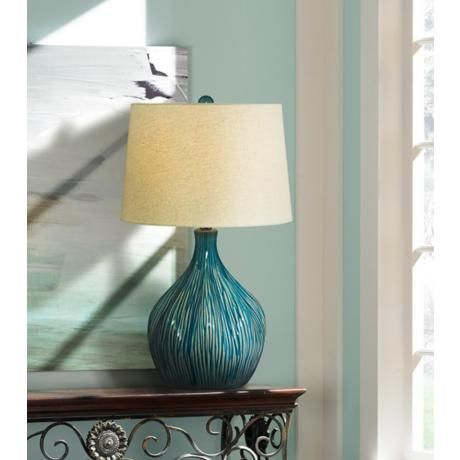 Teal And Tan Ceramic Gourd Table Lamp