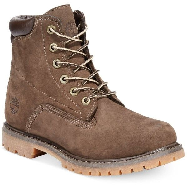 Timberland Women's Waterville Boots, ($150) ❤ liked on Polyvore featuring shoes, boots, timberland, dark brown, timberland footwear, utility shoes, dark brown shoes, timberland boots and timberland shoes