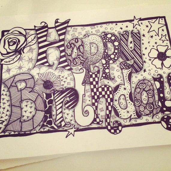 Happy birthday zentangle card by ForeverTangles on Etsy