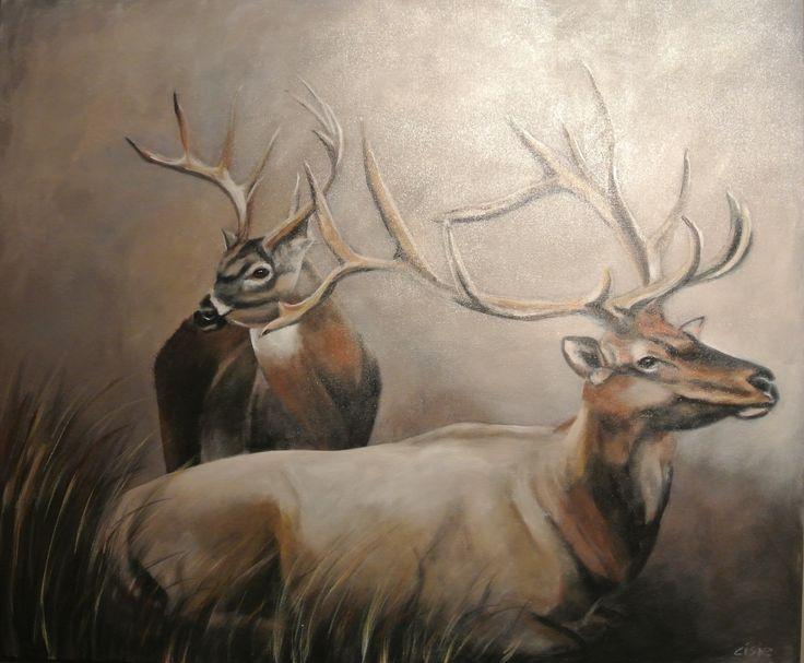 Cisie schilderijen www.cisie.nl schilderij herten