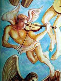 Anjo músico, detalhe da pintura do frontao da Igreja Santa Terezinha, Bragança Paulista SP