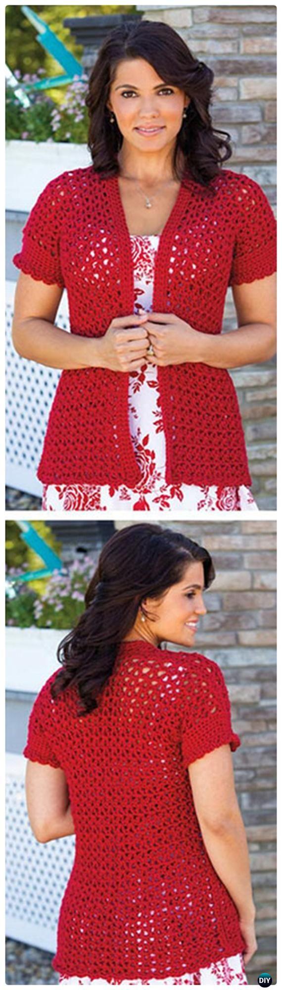 Crochet Summer Jacket Free Pattern - Crochet Women Sweater Coat-Cardigan Free Patterns