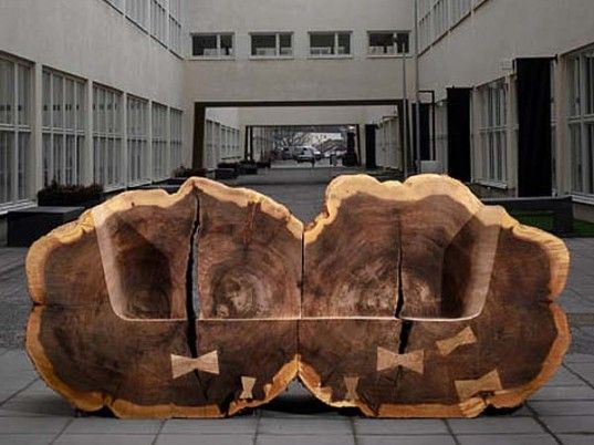 Gigantic Tree Trunk Benches Made From Recovered Elms Pop