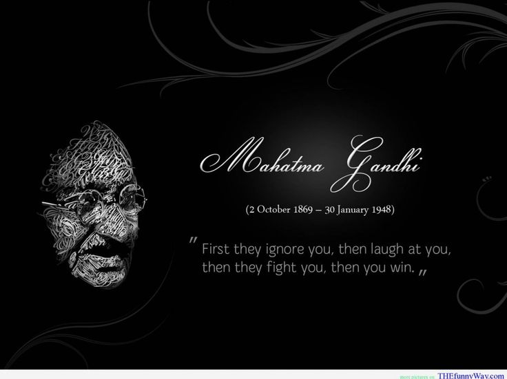 Funny Famous Quotes About Pictures: Mahatma Gandhi Quote With The Potrait Of Him In Wise Face