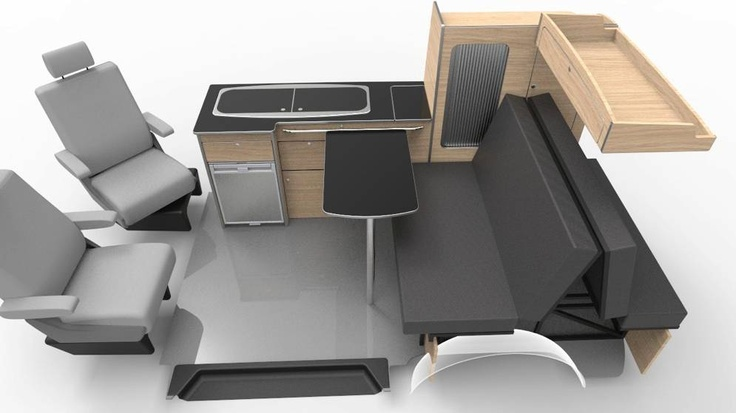 Like this, but that cabinet thing above the bench seat could be a flip down bunk for a kid