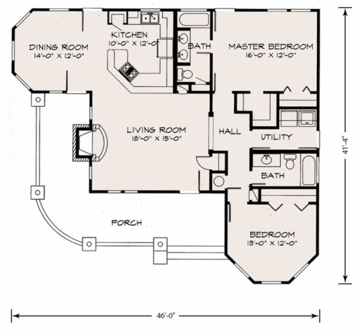 Cottage main floor plan plan 140 133 for L shaped craftsman home plans
