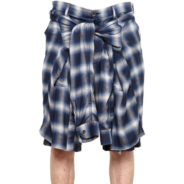 MIHARAYASUHIRO Checked Cotton Flannel Shorts ($694) ❤ liked on Polyvore featuring mens, men's clothing, men's shorts, shorts, bottoms, shirts, accessories e flannel