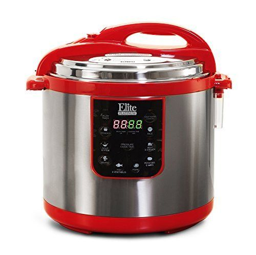 Elite Platinum EPC-1013R Maxi-Matic 10 Quart Electric Pressure Cooker, Red (Stainless Steel)