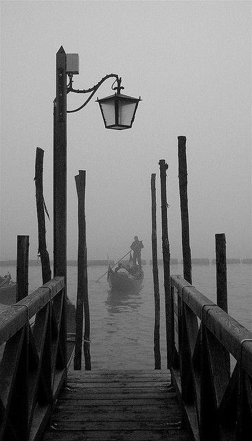 Phantom | Gondola departing from the Molo in mist,Venice, Italy