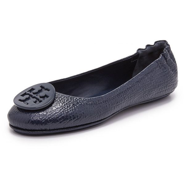 Tory Burch Minnie Travel Ballet Flats ($230) ❤ liked on Polyvore featuring shoes, flats, royal navy, navy flats, leather shoes, tory burch shoes, navy blue shoes and ballet flats